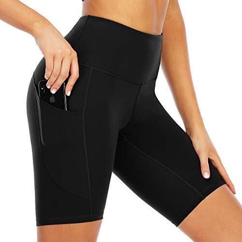 scicent Shorts Damen Sporthose Kurz Leggings Mädchen High Waist Yogahose Laufhos mit Taschen für Frauen L Schwarz
