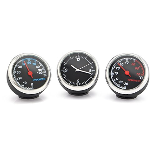 OLLGEN Auto Car Vehicle Thermometer Hygrometer Clock,Mini Small Classic Dashboard Thermometer Hygrometer Clock,3 in 1 for Car Cool Decoration