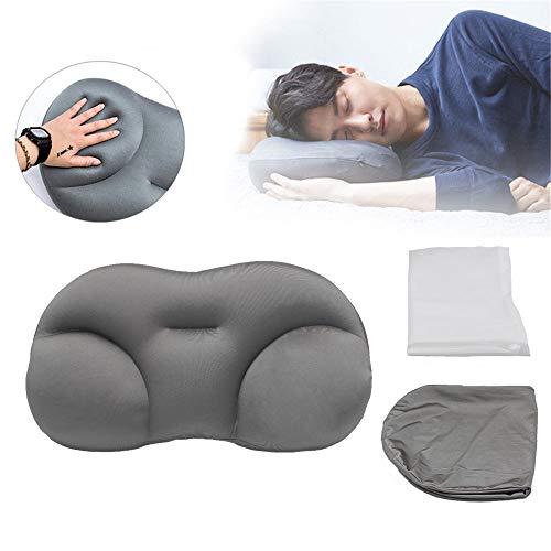 GMRZ All-Round Wolkenkissen, 3D schlafkissen Schnelles Sleep Pillow nackenkissen, Stillkissen, Schlafkissen, Memory-Schaum, zervikale Massagekissen für Nacken und Schulter Schmerzen,Grau
