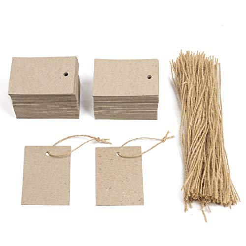 Pack 200 Etiquetas colgantes 5x7 cm, kraft, 200 Cuerdas, Tarjetas de cartón grueso 400g/ m², agujero colgador, para ropa, bodas, regalos, felicitación.