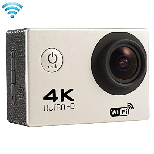 Ychaoya F60 2.0 inch Screen 4K 170 Degrees Wide Angle WiFi Sport Action Camera Camcorder with Waterproof Housing Case, Support 64GB Micro SD Card(Black) (Color : Silver)