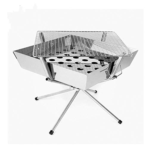 Edelstahl Holzkohle Tragbare Grill Grill Raucher Folding BBQ für Kochen Im Freien Camping Wandern Picknick Rucksack
