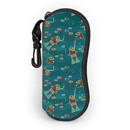 Dedesty Diver and Piranha Men's and Women's Personality Durable Portable Custodia per gli occhiali Sunglasses Astuccio per occhiali Zipper Hard Shell Scatola per occhiali with Hook