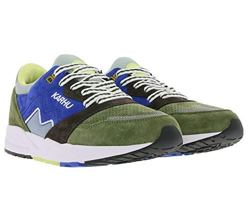 Karhu Aria Sneaker Trainings-Schuhe modische Herren Lauf-Schuhe Sport-Schuhe Freizeit-Sneaker mit Echtleder Grün/Blau, Größe:43 1/2
