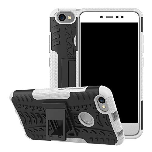 pinlu® Funda para Xiaomi Redmi Note 5A Smartphone Doble Capa Híbrida Armadura Silicona TPU + PC Armor Heavy Duty Case Duradero Protección Neumáticos Patrón Blanco