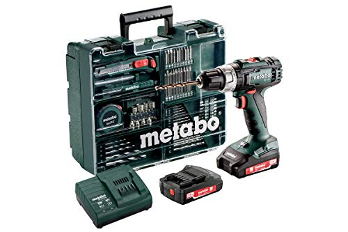 Metabo 602317870 Bohrschrauber BS 12 Set (mit Akku 2,0 Ah, 18 V, Akkuschrauber mit Koffer + Zubehör, inkl. Ladegerät, Bitdepot) 602321870, Et00, 2 x 2,0, 200 W