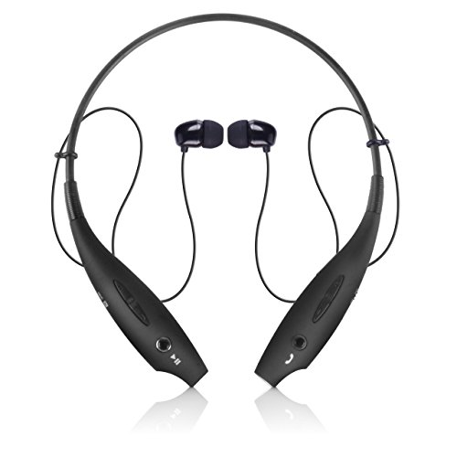 Bluetooth Headphones, Wireless Neckband Bluetooth Earbuds Headset V4.1 Stereo Noise Cancelling Earbuds with Mic (Black)
