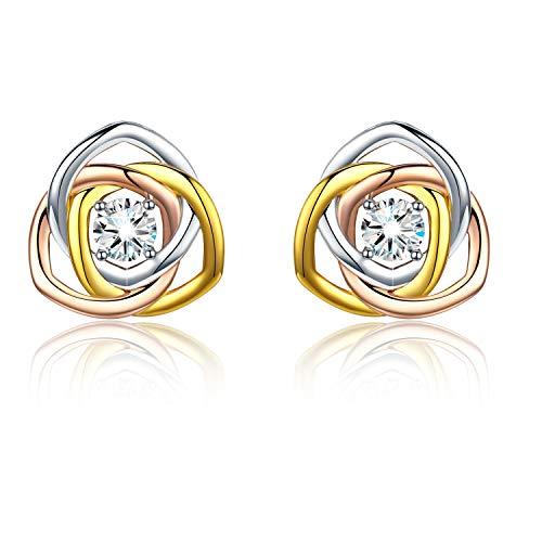 Rose Ohrringe für Damen Sterling Silber Ohrstecker Tricolour-Gold Ohrstecker für Mädchen Rose Gold Silver Schmuck für Frauen Silber Ohrringe für Kinder 925(Ohrringe-1)