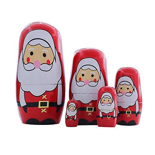 Konrisa Nesting Dolls Santa Claus 5 Piece Set Russian Matryoshka Dolls for Boys Girls Wooden Stacking Dolls Handmade Figurines Mother's Day Birthday Xmas Gift Party Toys