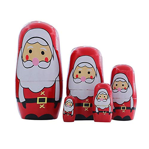 Konrisa Nesting Dolls Santa Claus 5 Piece Set Russian Matryoshka Dolls for Boys Girls Wooden Stacking Dolls Handmade Figurines Mother's Day Birthday Xmas Gift Party Toys