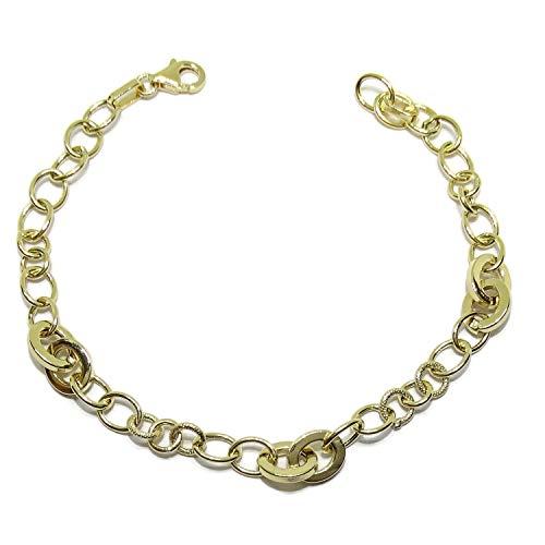 Pulsera de oro amarillo de 18k con anillas mate y brillo. 19.00cm de larga. 3.70gr de oro de 18k. Tamaño anillas centrales ; 7x8mm. Cierre mosquetón para máxima seguridad.