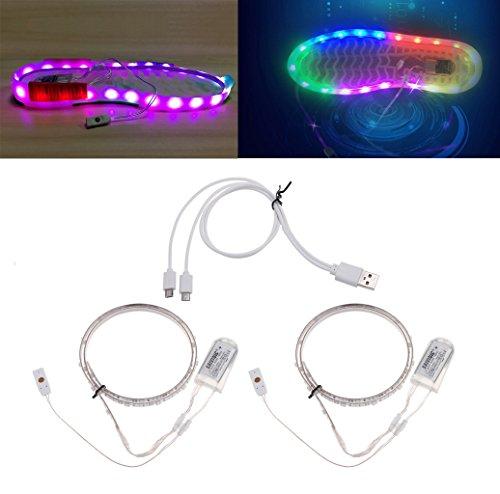 S-TROUBLE 1 Paire de Chaussures imperméables USB LED Strip Light 0.65mx2 RGB SMD3528 décor Flexible