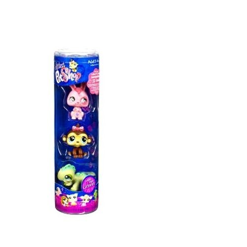 Littlest Pet Shop Spring Tube Pink Bunny, Monkey and Iguana by Littlest Pet Shop