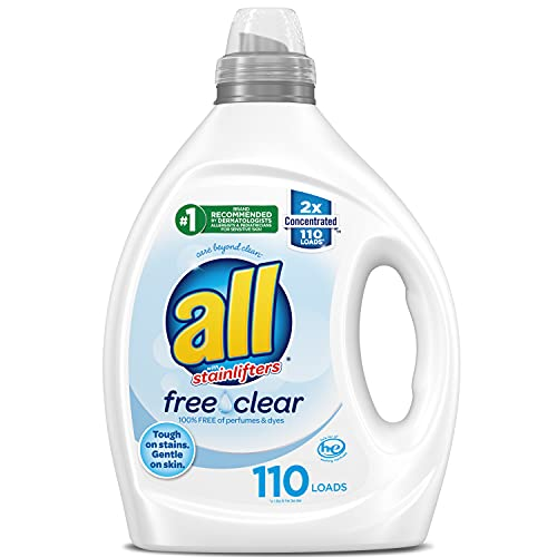 Product Image of the all Liquid Laundry Detergent, Free Clear for Sensitive Skin, 2X Concentrated, 110 Loads