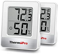 ThermoPro TP49 2 Pieces Digital Hygrometer Indoor Thermometer Humidity Meter Room Thermometer with Temperature and Humidity Monitor Mini Hygrometer Thermometer White