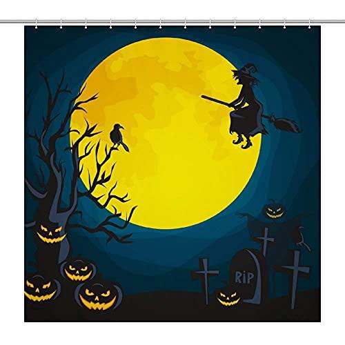 lovedomi Halloween Bad Duschvorhang Hexe Krähe unter dem gelben Mond Badezimmer Dekoration Duschvorhang Wasserdicht Polyester Stoff Duschvorhang 182,9 x 182,9 cm Badezimmer Zubehör-Set