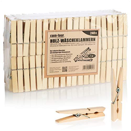 com-four® 240x Wäscheklammern aus Holz - Nachhaltige Holzklammern aus Birkenholz - unbehandelte Holzwäscheklammern zum Wäscheaufhängen und Basteln (240 Stück - Birke)
