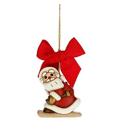THUN - Addobbo per Albero di Natale Babbo Natale su Sci - Decorazioni Natale Casa - Formato Grande - Ceramica - 5,5 x 4 x 6,5 h cm