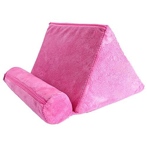 SJHP Almohada de la Tableta de la Almohada del iPad, Almohada Perezosa de la Almohada del teléfono móvil del triángulo del Soporte, Ayuda de la Tableta del Coche Pink
