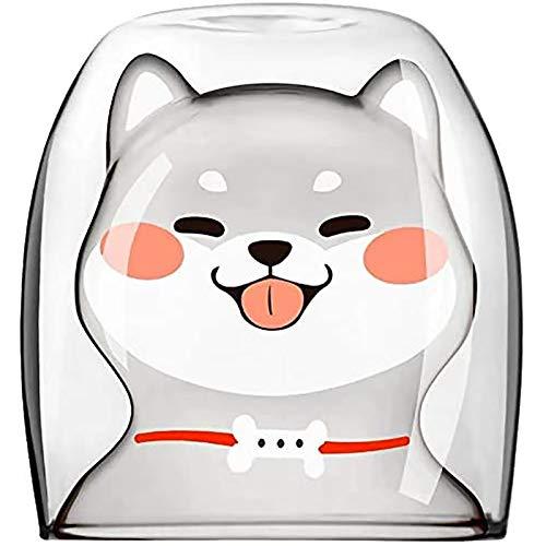 YDong Taza de Vidrio Shiba Inu Creativos Animales Divertidos Perro Té Leche Café Jugo Vasos para Beber Tazas 220 Ml
