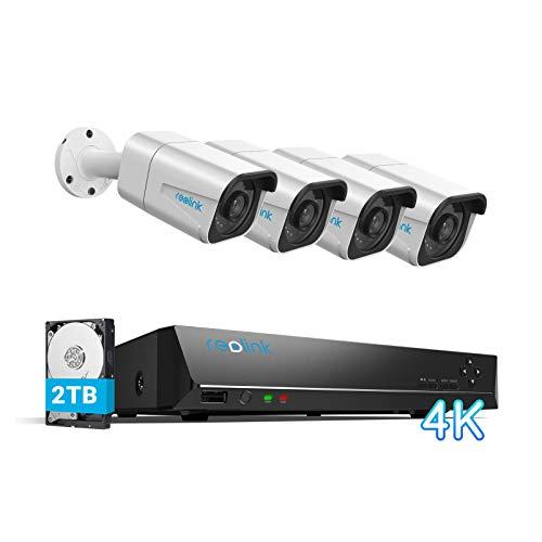 Reolink 4K 8CH Überwachungskamera Set Aussen, Videoüberwachung mit 4X 8MP PoE IP Kamera und 2TB HDD NVR für 24/7 Aufnahme Innen Outdoor, IP66 Wetterfest, 30 Meter Nachtsicht mit Audio, RLK8-800B4