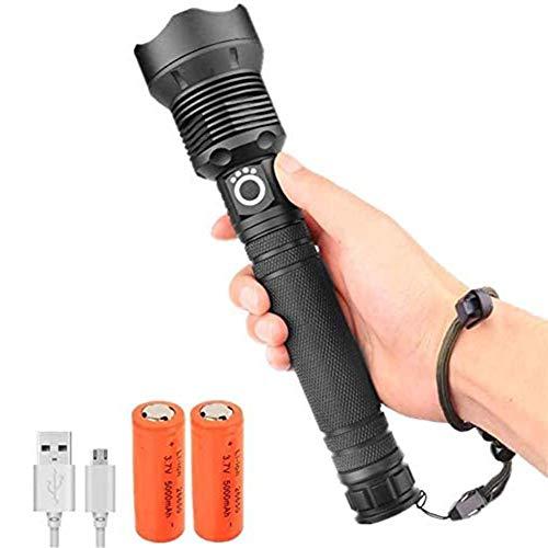 WJLGKSZG Linterna LED Recargable Potente XHP70 Linterna táctica Foco Ajustable 3 Modos de antorcha Impermeable para la Emergencia de Acampar