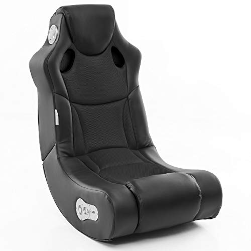 Wohnling Soundchair Booster in Schwarz mit Bluetooth eingebauten Lautsprechern | Multimediasessel für Gamer | Musiksessel 2.1 Soundsystem-Subwoofer, Lederimitat, 100x56x82cm