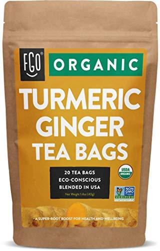 Organic Turmeric Ginger Tea Bags | 20 Tea Bags | Eco-Conscious Tea Bags in Kraft Bag | by FGO