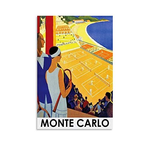 SDFZ Poster vintage Tennis Monte Carlo su tela Poster Moderno Ufficio Famiglia Camera da Letto Poster Decorativo Regalo Decorazione Della Parete Poster 60 x 90 cm