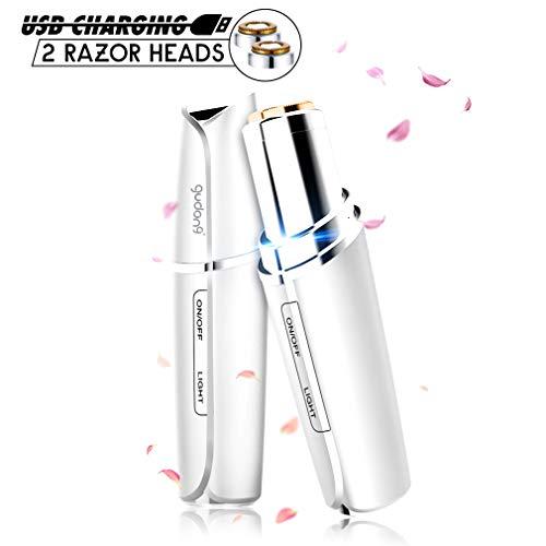 Depiladora Facial para Mujer Eléctrica Mini,Depiladora de afeitar eléctrica portátil recargable USB para afeitadora con LED incorporado y luz ultravioleta para mujeres Peach Fuzz(Blanco)
