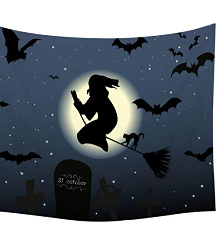 wrhua Calabaza Fiesta De Halloween Tapicería Noche Luna Tela De Fibra Pared Decoración Infantil Yoga Negro Estera Mantel200 * 150Cm