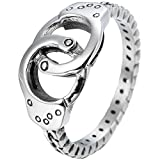 Kingray Jewelry Stainless Steel Double Circle Handcuff Karma Infinity Promise Statement Anniversary Ring (6)