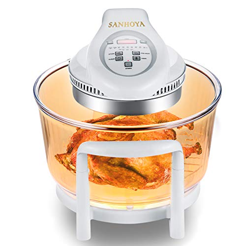 SANHOYA Convection Oven, French Arcopal Glass Bowl 12L-17L Oil Free Cooker, Halogen Convection...