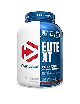 Dymatize Elite XT Protein Powder Multi-Source Protein 21g Protein 4.5g BCAAs & 2.2g L-Leucine with Slower Absorbing Casein Rich Chocolate 4 Pound