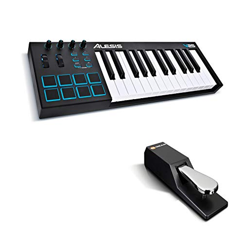 MIDI Controller Bundle | 25 Key USB MIDI Keyboard with 8 Beat Pads, Sustain...