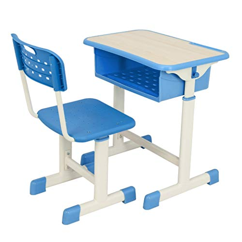 Price comparison product image Concise Student Desk and Chair Kit Height Adjustable Desk for Writting & Reading Blue