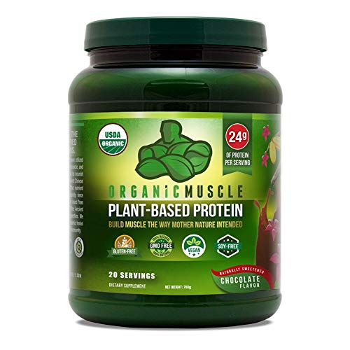 Organic Vegan Protein Powder - Great Tasting Chocolate Flavor W/ 24g of Protein -100% Organic Plant Based Protein Blend of Pea, Hemp, & Rice Protein +Chia Seed, Flax Seed -760g