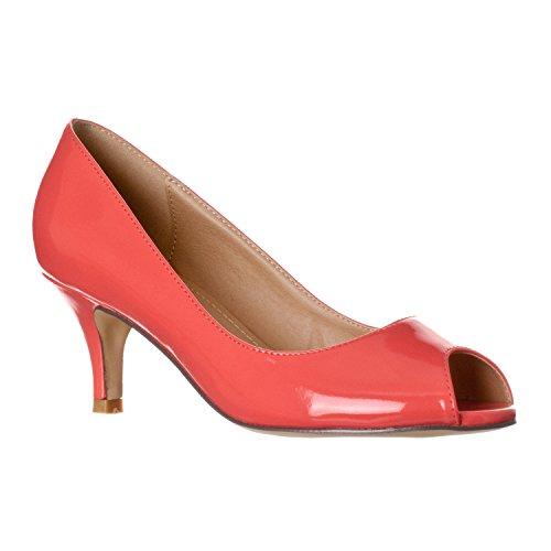 Riverberry Women's Lydia Open, Peep Toe Kitten Heel Pumps, Coral Patent, 9