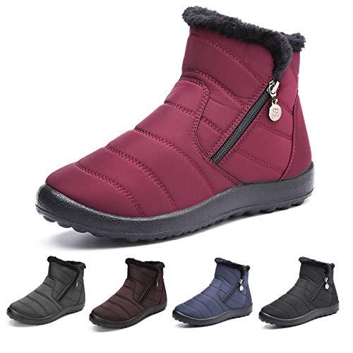 Botas de Nieve para Mujer Niñas,Camfosy Botines de Invierno Impermeables Piel Interior cálida...
