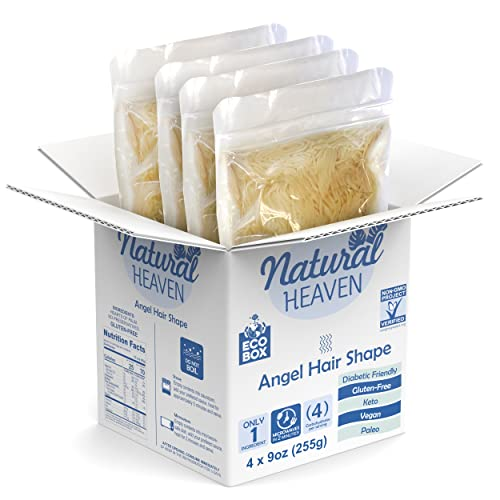 ECOBOX Natural Heaven Pasta Substitute   Angel Hair Hearts of Palm Noodle   4 Count 9 oz   Environmental friendly