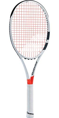 "Babolat Pure Strike Team Grey / Orange Tennis Racquet (4"" Grip) Strung with Orange Tennis Racket String"