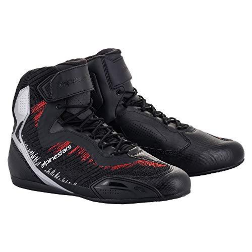 Alpinestars Motorradschuhe Faster 3 RideKnit Shoes black silver bright red, 44 EU