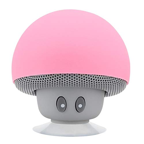 Vbestlife Altavoz Mushroom, Mini Altavoz Bluetooth Inalámbrico Portátil en Forma de Hongo Subwoofer con Ventosa, Micrófono Integrado, Rosa