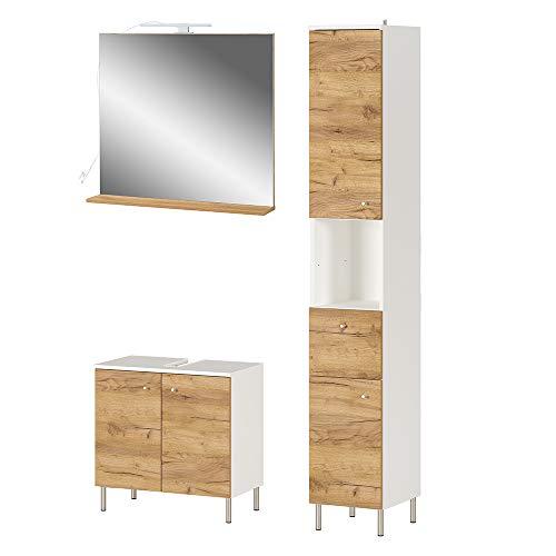 Preisvergleich Produktbild Germania 3-tlg. Badezimmer-Set 8547-513 GW-Dallas,  bestehend aus Waschbeckenunterschrank,  Spiegel und Hochschrank,  im Dekor Weiß / Navarra-Eiche-Nb.