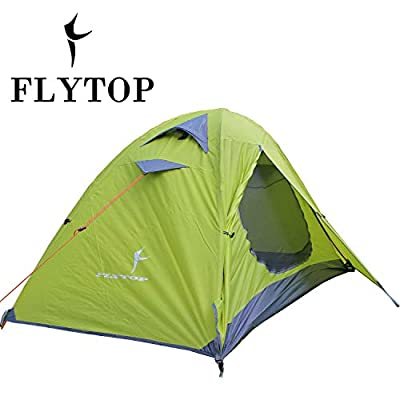 FLYTOP 3-4 Season 1-2-person Double Layer Backpacking Tent Aluminum Rod Windproof Waterproof for Camping Hiking Travel Climbing - Easy Set Up (Green-Single Person Tent)