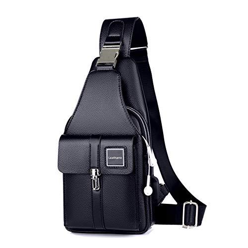 Leathario Brusttasche Herren Leder Crossbag Wasserdicht Sling Rucksack Sling Bag Echtleder Schulterrucksack Schulltlertasche Crossbody Bag Tragtasche für Arbeit Freizeit (Blau)