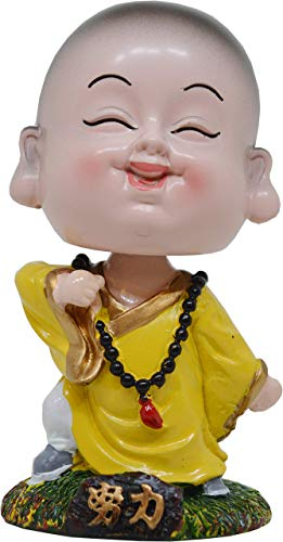 Indian Decor & Attire Shenzu Little Yellow Bobblehead Monk Buddha with Nodding Head, Beautiful Car Dashboard Idol, Figurine, Showpiece, Sculpture for Health, Wealth & Prosperity