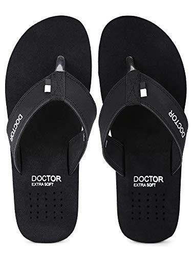 DOCTOR EXTRA SOFT Slipper Ortho Care Orthopaedic and Diabetic Comfort Doctor Slipper, Dr. Slipper, Flip-Flop, Slides and House Slipper for Men's (BLACK, numeric_10)