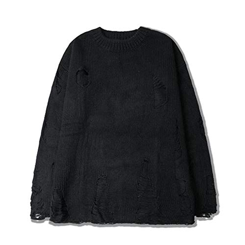 Ripped Hole Men Sweaters High Street West Knitwear Sweaters Men Autumn Pullover Men Streetwear Black XXL
