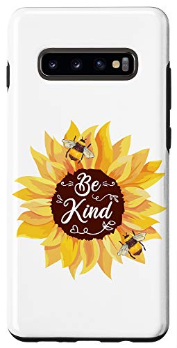 Galaxy S10+ Sunflower Be Kind Cute Bumble Bee Honey Bees Quote Girl Gift Case